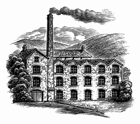 Black and white scraperboard engraving of old fashioned mill building