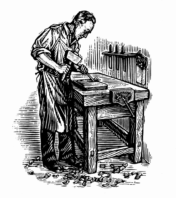 Black and white scraperboard engraving of skilled carpenter