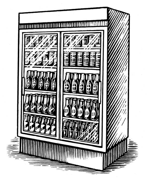 Various drinks in large refrigerator