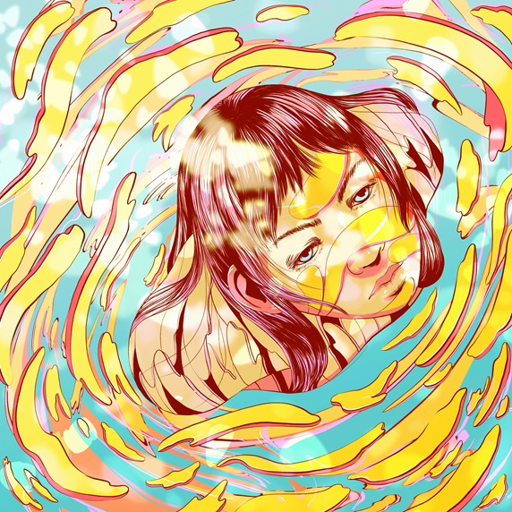 Young woman with head in swirl
