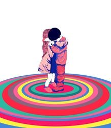 Boy and girl hugging on colorful rings