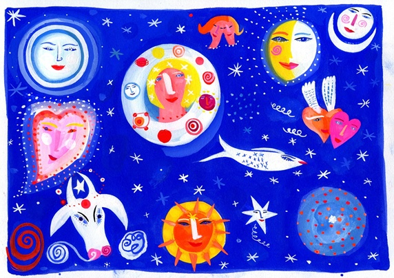 Animals, moon and sun with woman face against starry sky