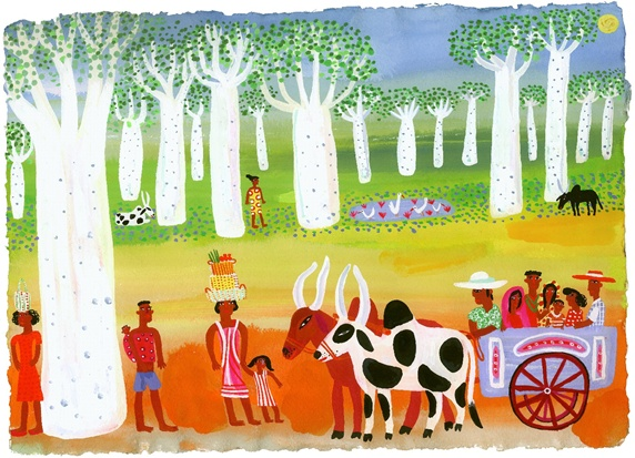 People and bullock cart in forest