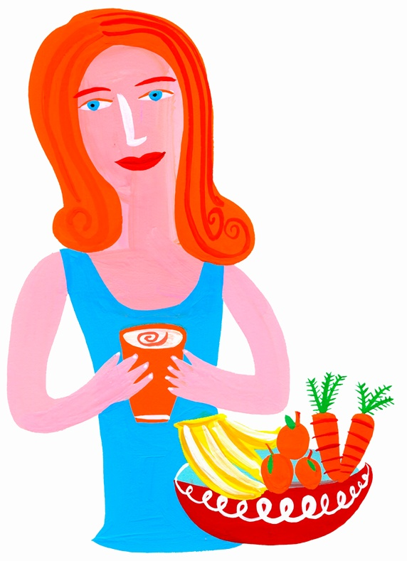 Woman drinking healthy juice from fruit and vegetables