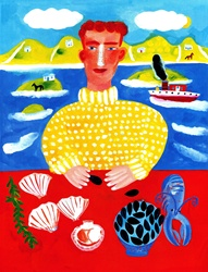 Portrait of man with seashell, seaweed and squid