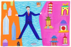 Businessman straddling the sea between East and West