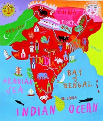 Map of India with Indian culture and wildlife