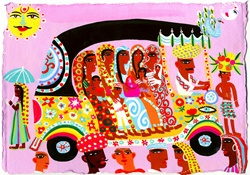Women and children traveling in ornate auto rickshaw
