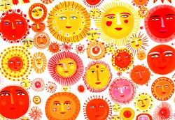 Lots of suns with smiling faces