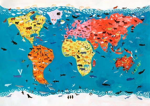 World map of wild animals