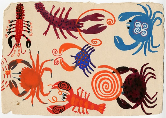 Patterned lobsters and crabs