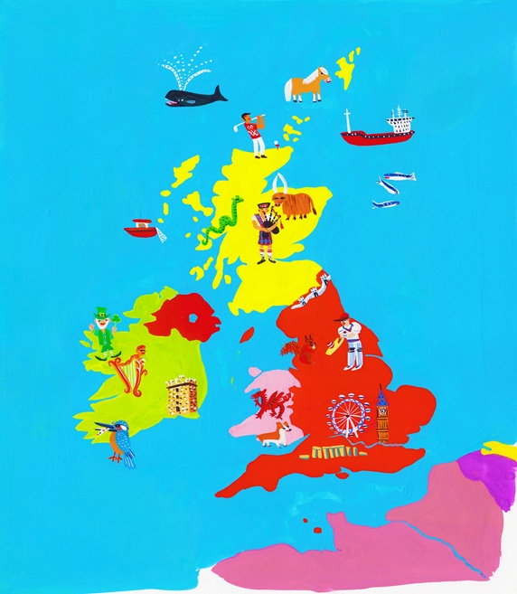 Illustrated map of British Isles