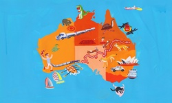Illustrated tourism map of Australia and Tasmania