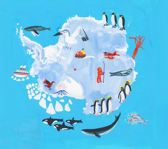 Illustrated map of Antarctica