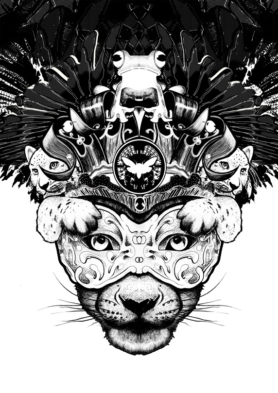 Portrait of big cat wearing mask and crown