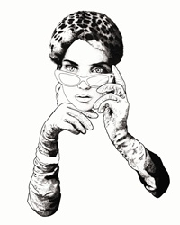 Fashion image of female face with glasses and hands in gloves, looking at camera