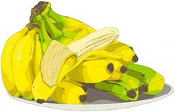 Bananas on plate, white background