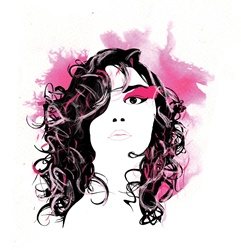 Woman with curly hair and pink make-up