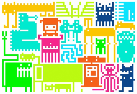 Pattern of retro pixelated video game icons