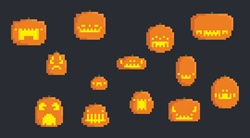 Various Pixelated Halloween Pumpkins
