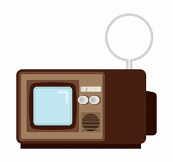 Retro television with indoor aerial