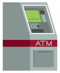 ATM machine on white background