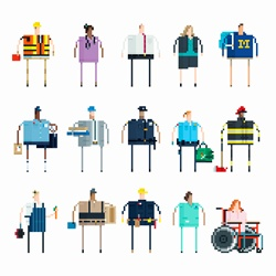 Pixelated people in a row with different jobs in united states