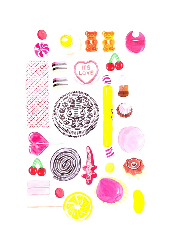 Various sweets on white background