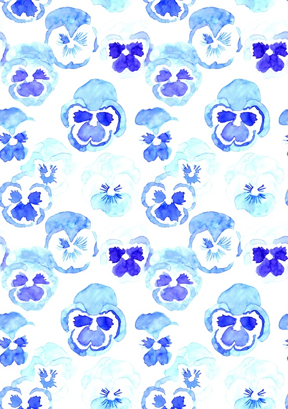 Pattern with blue pansies