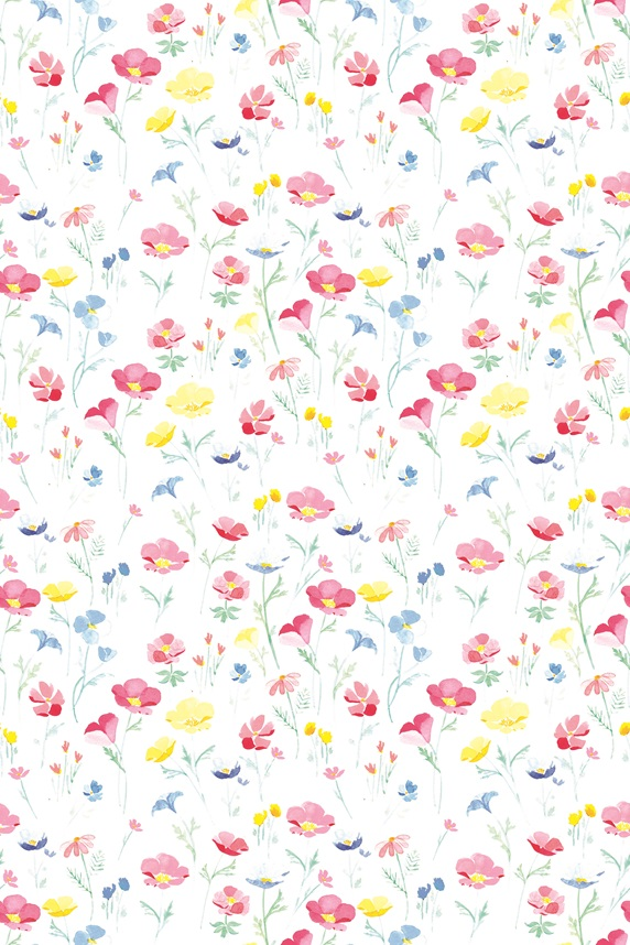Pattern with various flowers