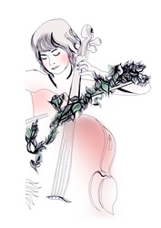 Woman playing cello with bow overgrown with flowers