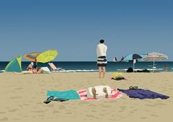 People on sandy beach, towels and sunshades
