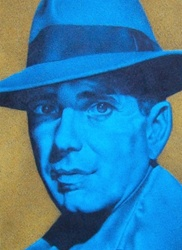 Retro styled blue portrait of man in hat, yellow background