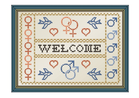 Welcome sign with female and male symbols