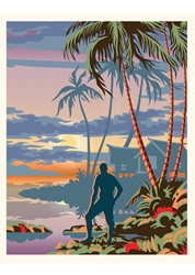 Silhouette of man on tropical coast at sunset