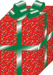 Christmas present wrapped in red patterned paper, green ribbon