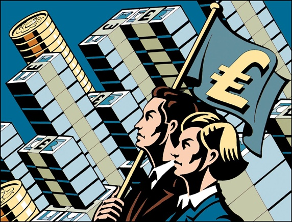 Man and woman holding flag with UK pound symbol, architecture made of money in background
