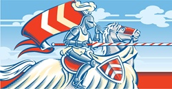 Red and blue image of knight riding on horse