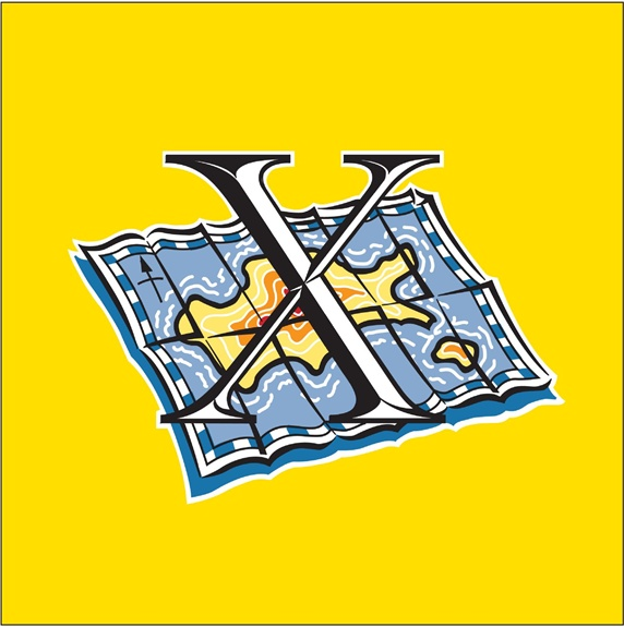 Letter 'X' and island map, yellow background