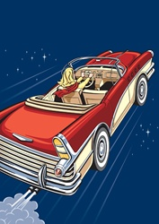 High angle view of blond female driving red vintage car in space