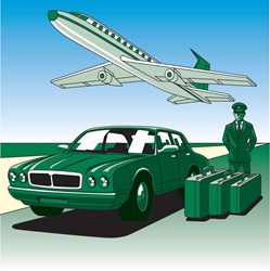 Airplane taking off, green car and driver waiting with suitcases
