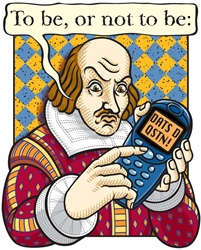 William Shakespeare with mobile phone