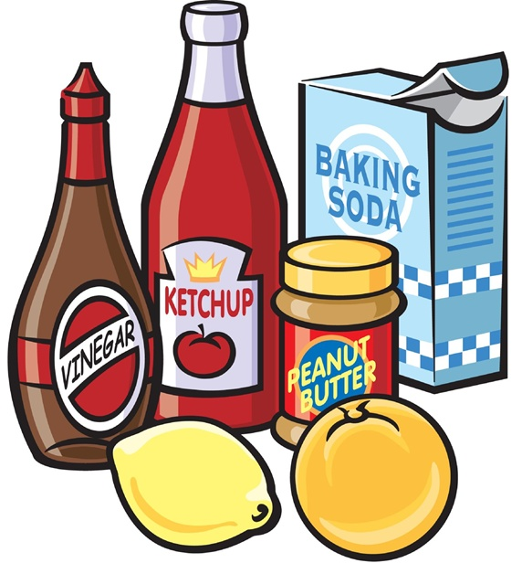 Bottles of vinegar and ketchup, peanut butter, baking soda box and lemon