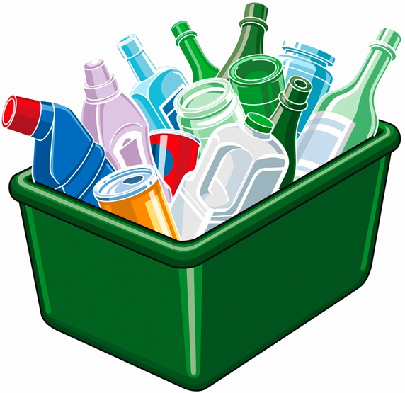 Plastic, cans and glass in green recycling bin