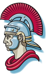 Roman warrior in helmet
