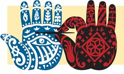 Painted hands in traditional pattern