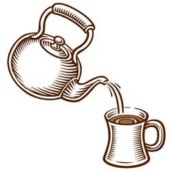 Kettle pouring water into mug, white background