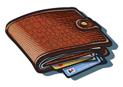 Brown wallet with credit cards, white background