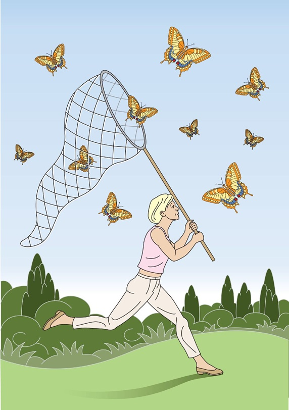 Blond female catching butterflies with net