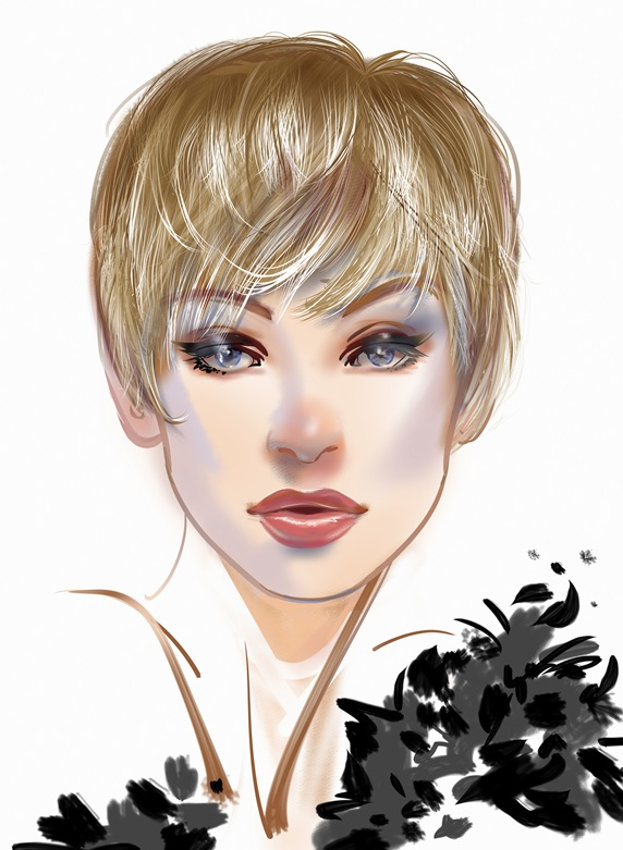 Close up of fashion model with pixie haircut